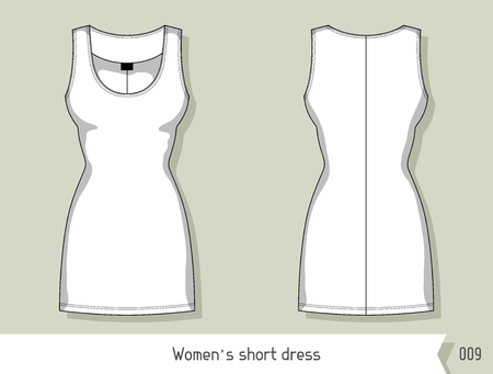 dress: Women short dress. Template for design, easily editable by layers. Illustration