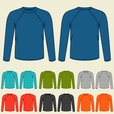 Set of colored long sleeve shirts templates for men. 矢量图片