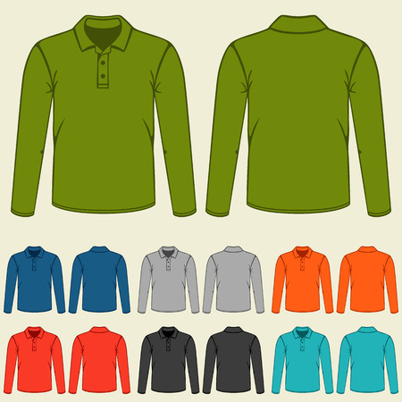 Set of colored polo t-shirts templates for men. 일러스트