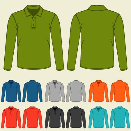 Conjunto de modelos de las camisetas del polo de colores para los hombres.