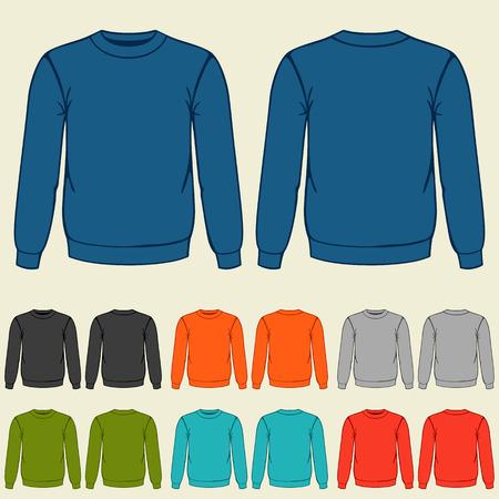 Conjunto de modelos de camisetas de colores para los hombres.