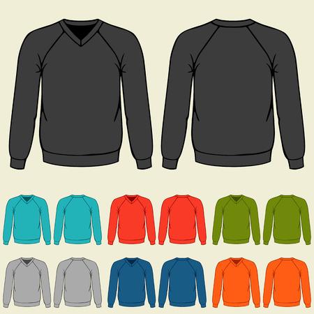 sweatshirts: Set of colored sweatshirts templates for men.