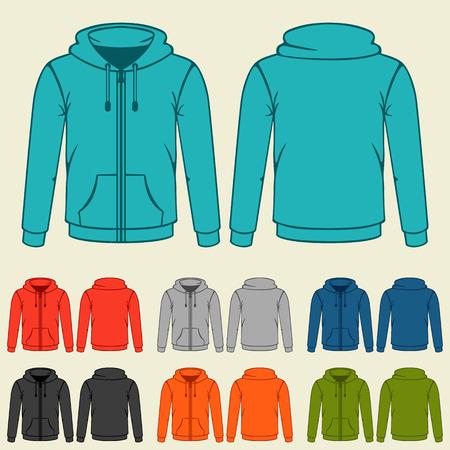 zip hoodie: Set of colored hoodies templates for men.