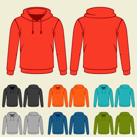 Set of colored hoodies templates for men.