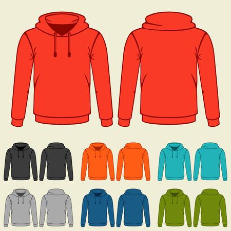 Zestaw kolorowe bluzy szablonów dla mężczyzn. Ilustracje wektorowe