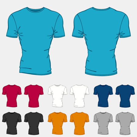 short sleeve: Set of colored t-shirts templates for men.