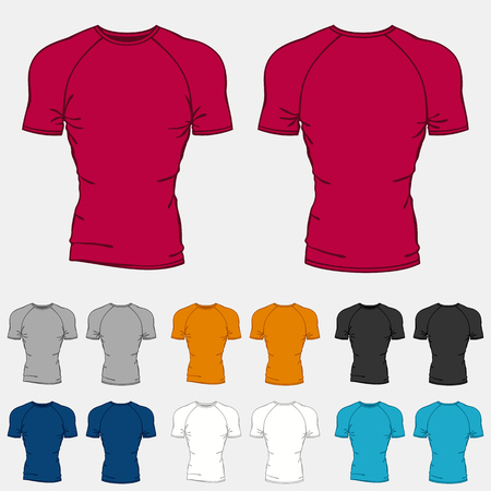 tshirts: Set of colored t-shirts templates for men.