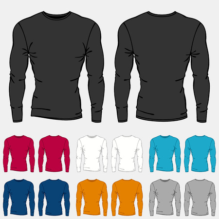 sleeve: Set of colored long sleeve shirts templates for men. Illustration
