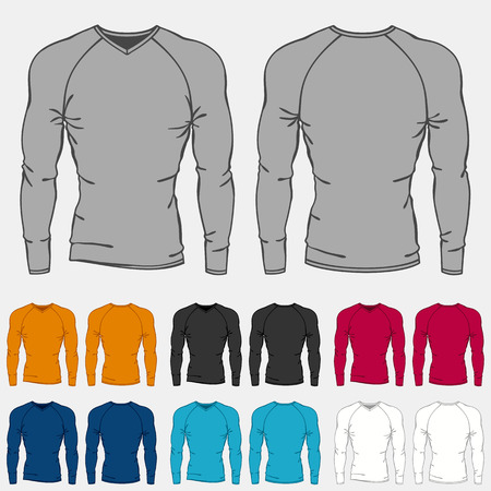 t shirt model: Set of colored long sleeve shirts templates for men. Illustration