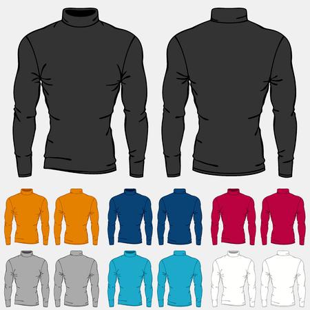 turtleneck: Set of colored turtleneck shirts templates for men.