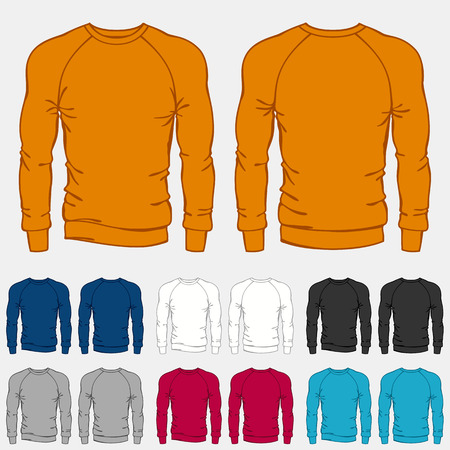Set of colored sweatshirts templates for men.
