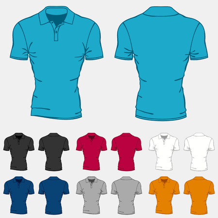 Set of colored polo-shirts templates for men. Illustration