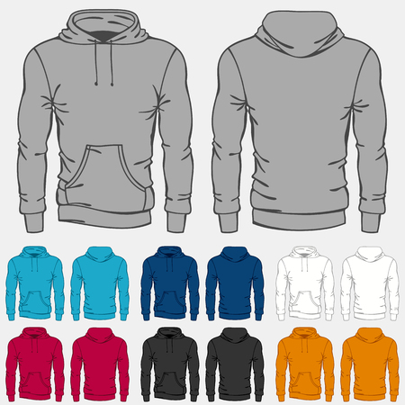 hoodie: Set of colored hoodies templates for men.