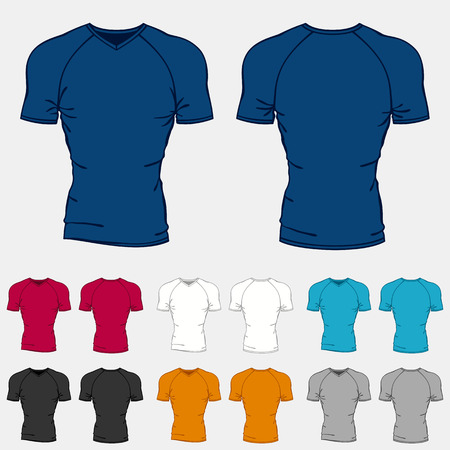 tight body: Set of colored t-shirts templates for men.