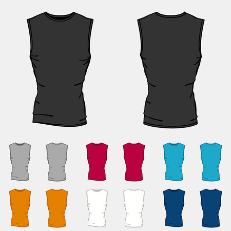 sleeveless: Set of colored sleeveless shirts templates for men.