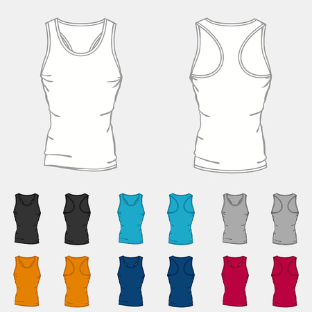 tight body: Set of colored singlets templates for men. Illustration