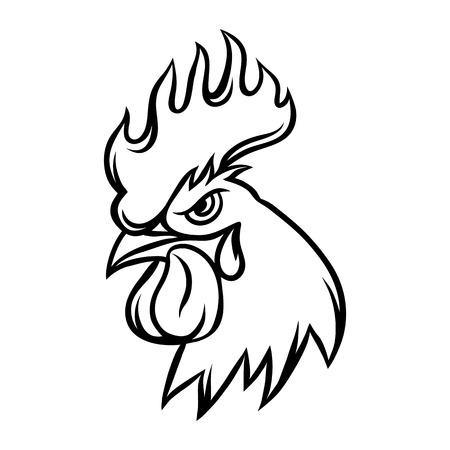 Hand gezeichnete Illustration der schwarzen Hahn auf weißem Hintergrund.