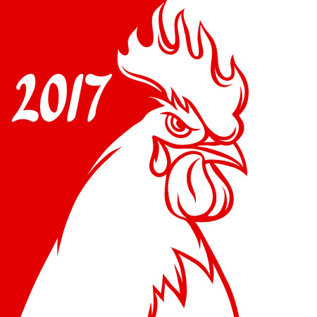 poultry: Greeting card with rooster symbol of 2017 by Chinese calendar. Illustration