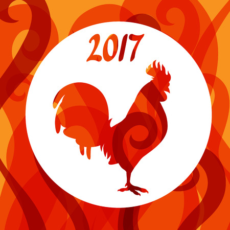 chinese calendar: Greeting card with rooster symbol of 2017 by Chinese calendar. Illustration