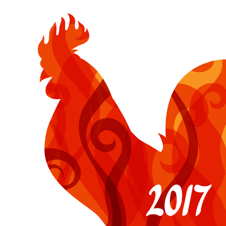 lunar calendar: Greeting card with rooster symbol of 2017 by Chinese calendar. Illustration