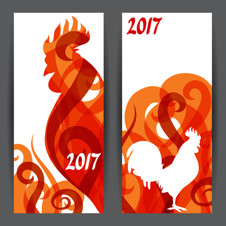 chinese symbol: Banners with rooster symbol of 2017 by Chinese calendar. Illustration