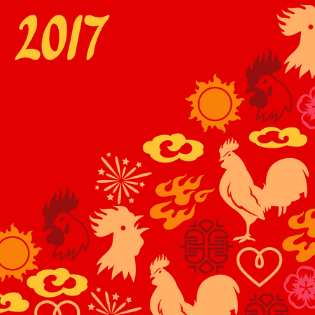 chinese calendar: Greeting card with symbols of 2017 by Chinese calendar. Illustration