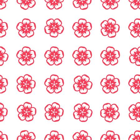 flores chinas: Patrón sin fisuras con las flores de sakura en estilo chino.