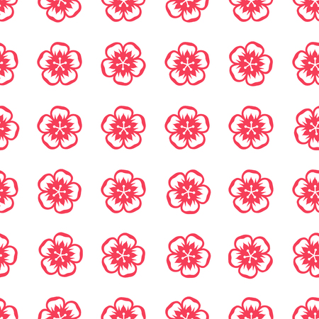 wite: Seamless pattern with sakura flowers in Chinese style.