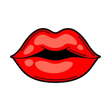 Lips retro tattoo symbol. Cartoon old school illustration. Illustration