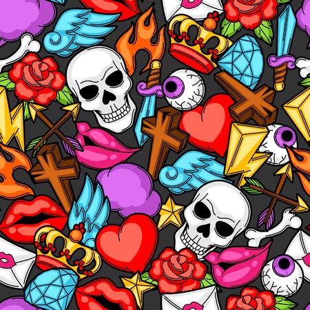 Seamless avec des symboles de tatouage rétro. Cartoon vieille école illustration.