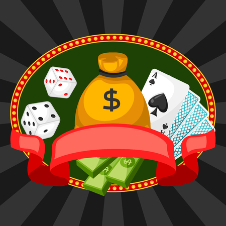 gambling game: Casino gambling background or flyer with game objects. Illustration