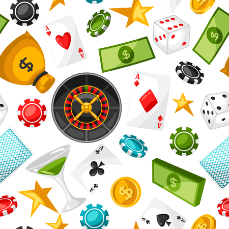 gambling game: Casino gambling seamless pattern with game objects.