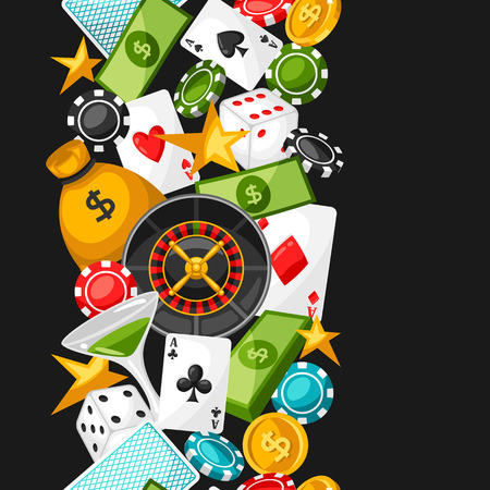 Casino gambling seamless pattern with game objects.