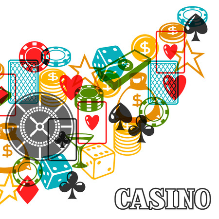 gambling game: Casino gambling background design with game objects. Illustration