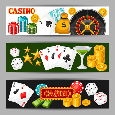 gambling game: Casino gambling banners or flyers with game objects. Illustration