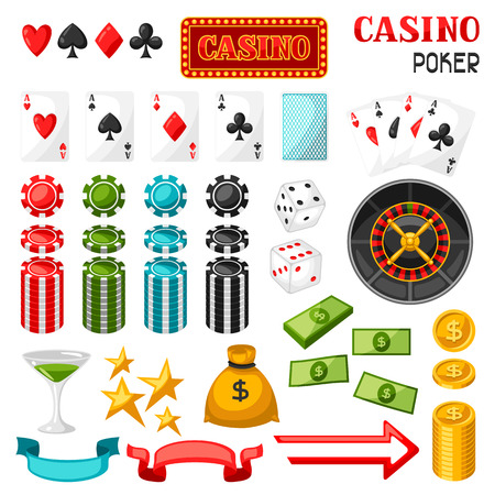 gambling game: Set of casino gambling game objects and icons.