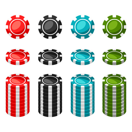 Set of casino color chips and stacks on white background.
