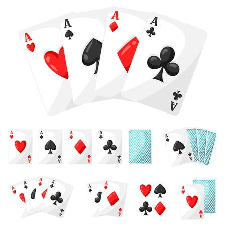 ace of hearts: Set of casino gambling aces cards for design. Illustration