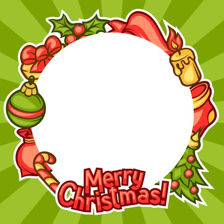 Merry Christmas invitation frame with holiday symbols. Illustration