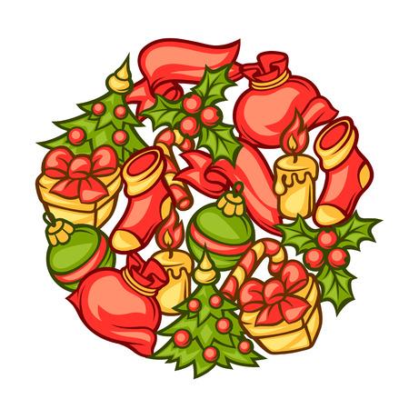 holiday invitation: Merry Christmas invitation background with holiday symbols.