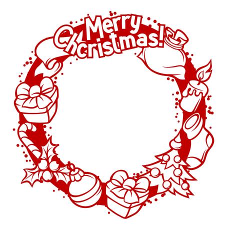 holiday invitation: Merry Christmas invitation wreath with holiday symbols.