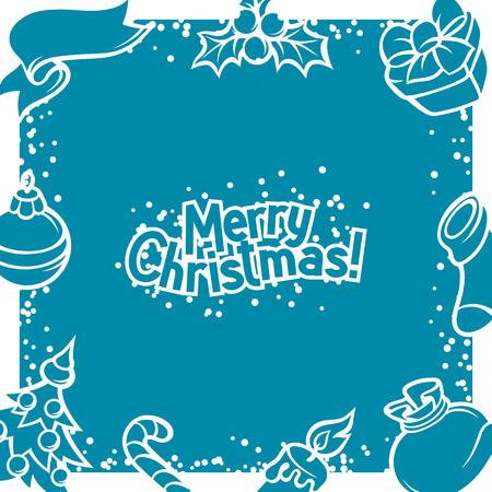 holiday invitation: Merry Christmas invitation card with holiday symbols.