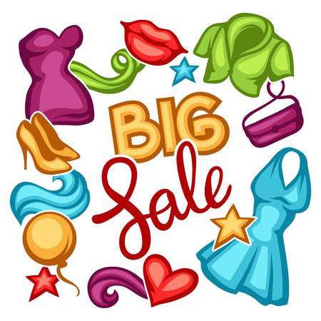 Sale background with female clothing and accessories. Illustration