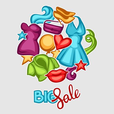 Fundo da venda com roupas femininas e acessórios.
