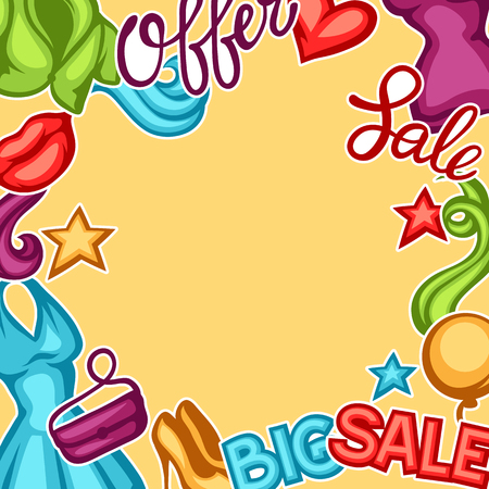 balloon background: Sale background with female clothing and accessories. Illustration