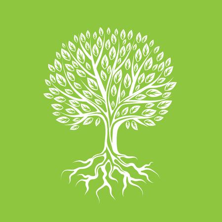 árbol estilizado abstracto con las raíces y las hojas. ilustración Natural.