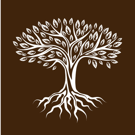 tree of life: Abstract stylized tree with roots and leaves. Natural illustration.