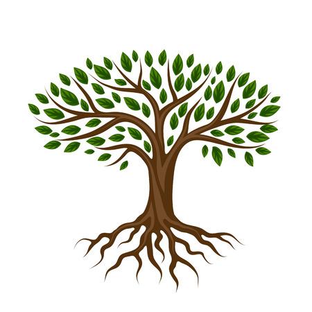 Abstracte gestileerde boom met wortels en bladeren. Natuurlijke illustratie. Stock Illustratie