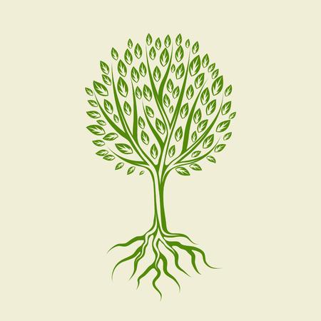 Abstrakt stilisierter Baum mit Wurzeln und Blättern. Natürliche Abbildung.