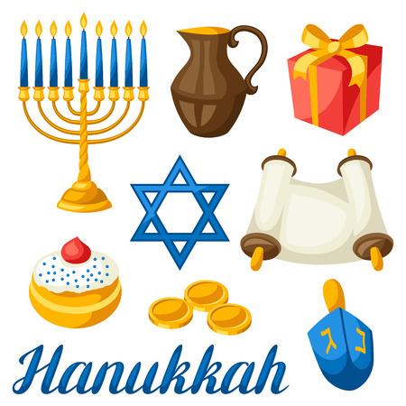 chanukiah: Set of Jewish Hanukkah celebration objects and icons.